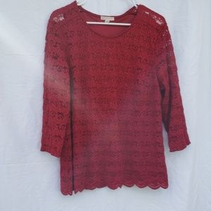 db established 1962 red lace blouse xl back button